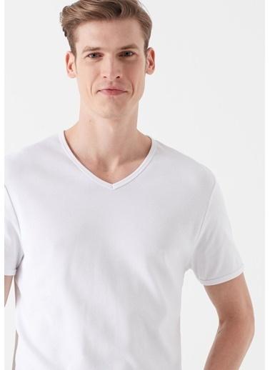 Mavi Erkek  V Yaka Tişört 063748-620 Beyaz